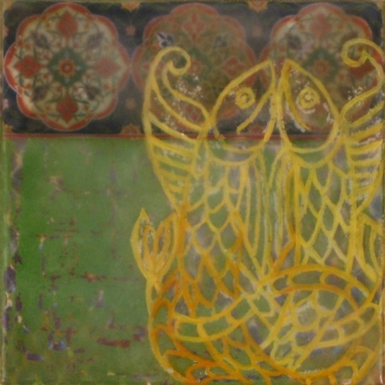 "Folktale Series: Bradán, 2013 - Mixed media encaustic on panel, 6"" x 6"""