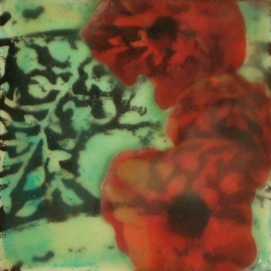 "Folktale Series: Poppy Dreams, 2013 - Mixed media encaustic on panel, 4"" x 4"""