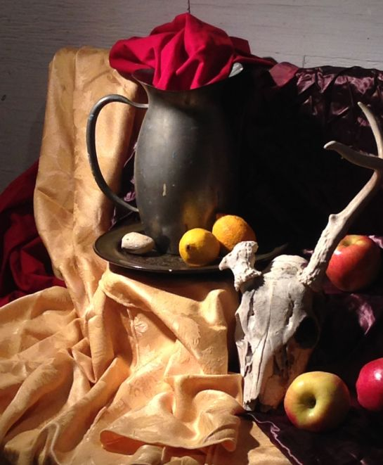 My chosen view of the still life for our Van Eyck style painting project