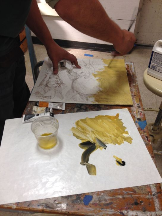 Verdaccio layer demo - use yellow ochre, ivory black and a touch of white to create a greenish background color