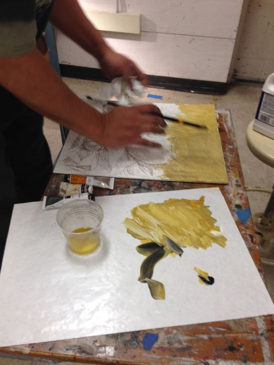 Painted color onto panel and use 1:4 or 1:5 linseed oil/turpenoid medium to thin; wipe down evenly once applied