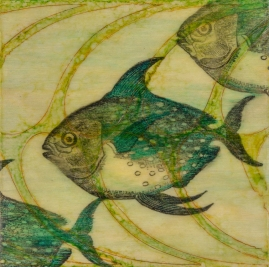 "SOLD - ""Affinity"", Encaustic Mixed Media on Wood Panel, 4 x 4 x 1.5 inches (Private collection of Elizabeth Tran - purchased through SOHA Gallery)"