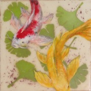 "SOLD - ""Ginkgo Koi"", Encaustic Mixed Media on Clayboard Panel, 6 x 6 x .75 inches, 2015 (Private collection of Erica Popp and John Q. Do)"