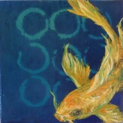 "SOLD - ""Golden Koi"", Encaustic Mixed Media on Panel, 4 x 4 x .75 inches (Private collection of Lisa Glenn)"