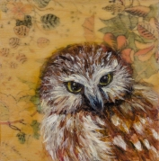 "SOLD - ""Seer"", Encaustic Mixed Media on Wood Panel, 4 x 4 x 1.5 inches, (Private collection of Elizabeth Fogt)"