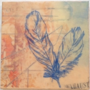 "SOLD - ""Magpie"", Encaustic Mixed Media on Wood Panel, 8 x 8 x .75 inches, 2013, (Private collection of Jami Desy Schoeneweis)"