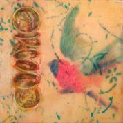 "SOLD - ""Transitory"", Encaustic Mixed Media on Wood Panel, 6x6 inches, (Private collection of Meaghan and Stephen Ong)"