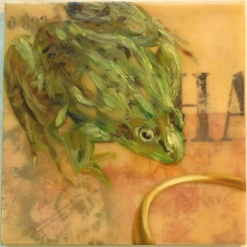 Wishful Thinking, Mixed Media Encaustic on wood panel, by Elizabeth M. Willey, 2015; 8 x 8 inches (sold - private collection of Elizabeth Fogt)