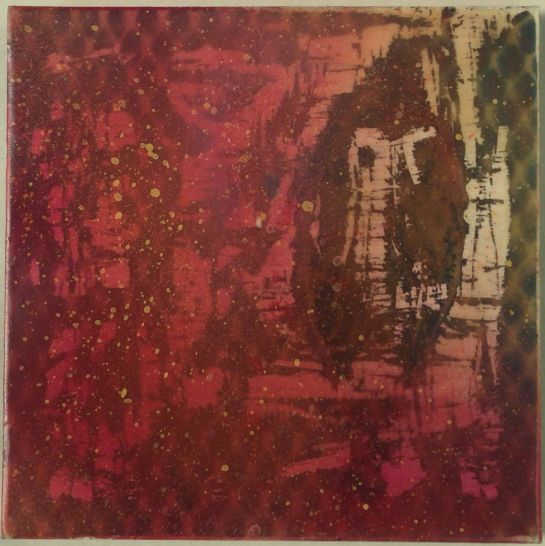 """""""Tapestry Series:  Alchemy"""" by Elizabeth M. Willey; Mixed media encaustic on panel, 6 x 6 inches, 2011"""
