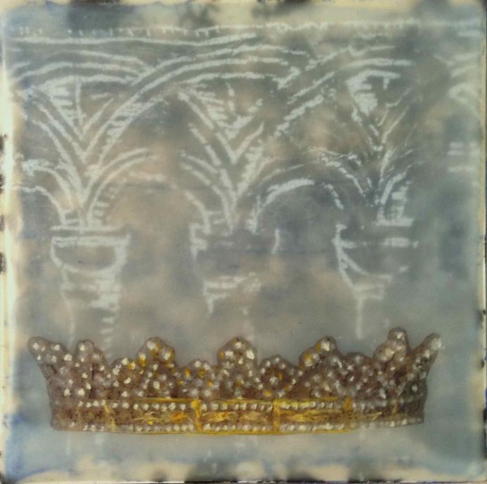 """Folktale Series:  All That Glitters"" by Elizabeth M. Willey; Mixed media encaustic on panel, 4 x 4 inches, 2014 (Private collection of Elizabeth Fogt)"