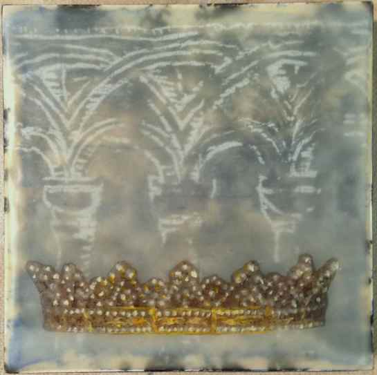 """""""Folktale Series:  All That Glitters"""" by Elizabeth M. Willey; Mixed media encaustic on panel, 4 x 4 inches, 2014"""