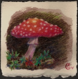 """Deep in the Forest"", Watercolor pencil on Arches paper, approximately 3.75 x 3.75 (h x w) inches; unframed, 2015"