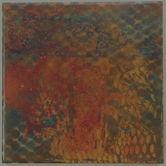 """""""Tapestry Series:  Dragonscales"""" by Elizabeth M. Willey; Mixed media encaustic on panel, 6 x 6 inches 2013"""