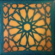 """Marrakesh II"", Encaustic Mixed Media on Panel, 4 x 4 x .75 in, 2015"