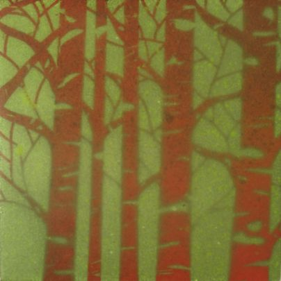 "SOLD - ""Sacred Grove II"", Encaustic Mixed Media on Panel, 4 x 4 x .75 in, 2015 (Private collection of Thea Galantowicz)"