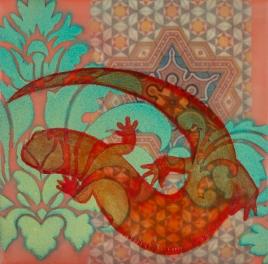 Elizabeth M. Willey - Salamander Arabesque II, Encaustic Mixed Media on Panel, 6 x 6 x .875 in, 2015