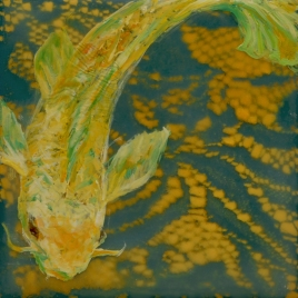 """White Koi"", Encaustic Mixed Media on Panel, 4 x 4 x .75 in, 2015"