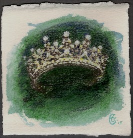 """Faerie Crown"", Watercolor pencil and transfer on Arches paper, approximately 4.25 x 4 (h x w) inches; unframed, 2015"