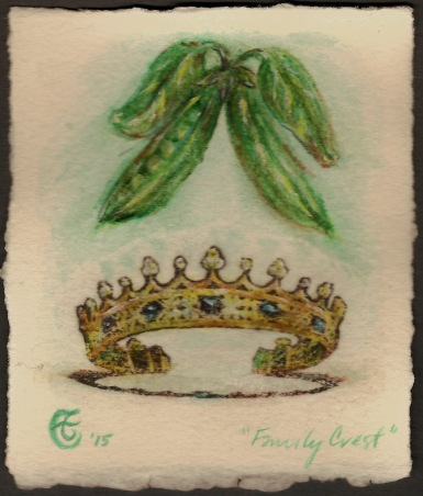 """Family Crest"", Watercolor pencil and transfer on Arches paper, approximately 4.25 x 3.5 (h x w) inches, unframed, 2015"
