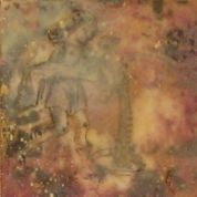 "SOLD - ""Aquarius"", Encaustic Mixed media on panel, 4 x 4 x .75 inches, 2013 (Private collection of Cathy Schodrowski)"