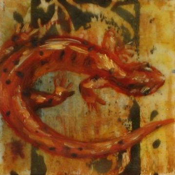 "SOLD - ""Fire Elemental"", Encaustic Mixed Media on Panel, 4 x 4 x .75 inches, 2013 (Private collection of Pamela Hinrichs)"