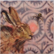 "SOLD - ""Rabbit & Anansi"", Encaustic Mixed Media on Panel, 8 x 8 x .75 inches, 2015 (Private collection of John Cooper)"