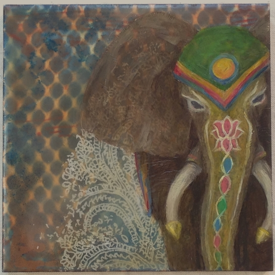 """""""Folktale Series:  Holi"""" by Elizabeth M. Willey; Mixed media encaustic on panel, 6 x 6 inches, 2010-2014."""