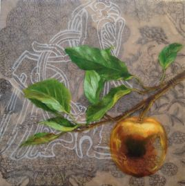 "SOLD - ""Loki and Idun's Apple"", Encaustic Mixed Media on Panel, 8 x 8 x 1.5 in, 2014 (Private collection of Mary Dorn)"
