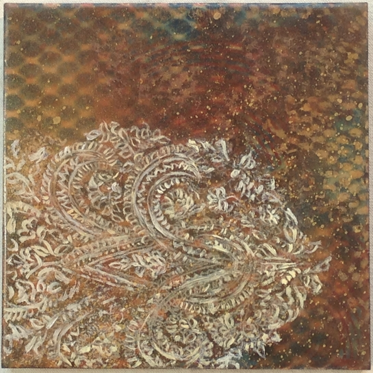 """""""Tapestry Series:  Paisley II"""" by Elizabeth M. Willey; Mixed media encaustic on panel, 6 x 6 inches, 2011"""