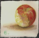 """Poisoned Apple"", Watercolor pencil on Arches paper, approximately 3.75 x 4 inches (h x w); unframed, 2015"