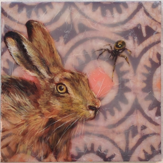 """""""Folktale Series:  Rabbit and Anansi's Drum"""" by Elizabeth M. Willey; Mixed media encaustic on panel, 8 x 8 inches, 2014"""