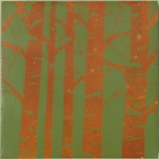 """""""Folktale Series:  Sacred Grove I"""" by Elizabeth M. Willey; Mixed media encaustic on panel, 4 x 4 inches, 2014"""