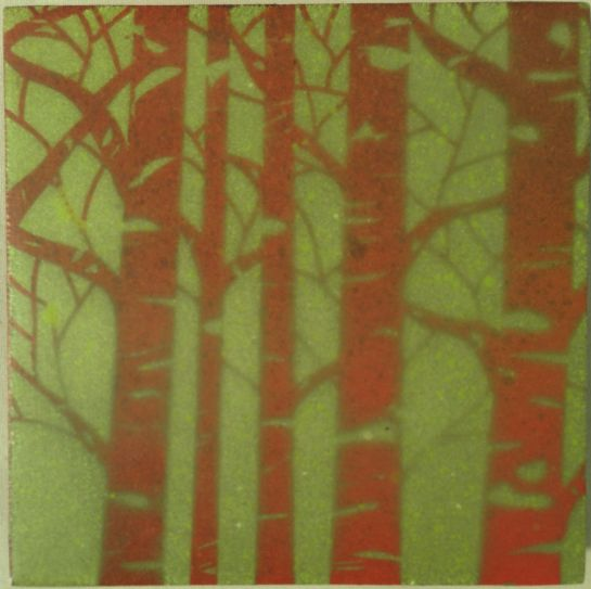 """""""Folktale Series:  Sacred Grove II"""" by Elizabeth M. Willey; Mixed media encaustic on panel, 4 x 4 inches, 2014"""