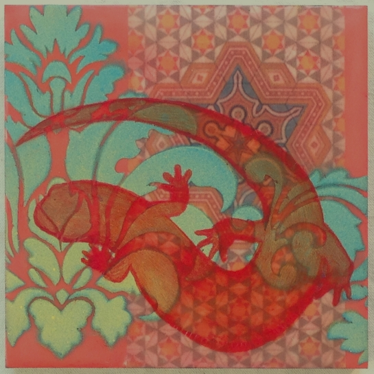 """Folktale Series:  Salamander Arabesque II"" by Elizabeth M. Willey; Mixed media encaustic on panel, 6 x 6 inches, 2014."