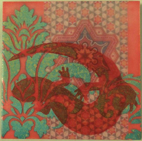 """Folktale Series:  Salamander Arabesque"" by Elizabeth M. Willey; Mixed media encaustic, 6 x 6 inches, 2014"