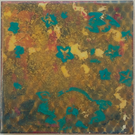 """""""Tapestry Series:  South Pacific"""" by Elizabeth M. Willey; Mixed media encaustic on panel, 6 x 6 inches, 2013."""