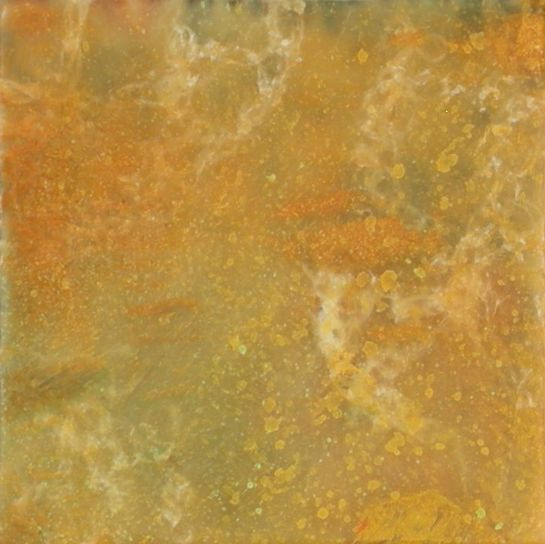 "Elizabeth M. Willey - SOLD - ""Tapestry Series: Fibers I"", Microcrystalline Encaustic, Crocheted Wool Thread, Mixed Media on Panel, 4 x 4 x .75 inches (approx 4.25 x 4.25 x 1.25 inches framed), (Private collection of Wang Chung-Hsiu 'Cherry')"