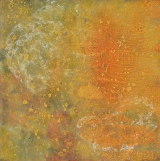 "Elizabeth M. Willey - SOLD - ""Tapestry Series: Fibers II"", Microcrystalline Encaustic, Crocheted Wool Thread, Mixed Media on Panel, 4 x 4 x .75 inches (approx 4.25 x 4.25 x 1.25 inches framed), (Private collection of Wang Chung-Hsiu 'Cherry')"