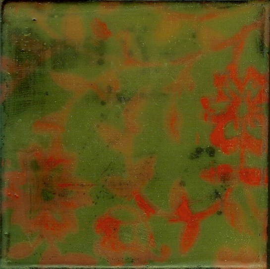 "Elizabeth M. Willey - SOLD - ""Tapestry Series: Flora I"", Microcrystalline Encaustic Mixed Media on Panel, 4 x 4 x .75 in, 2010 (Private collection of Lisa and Jim Harper-Chang)"