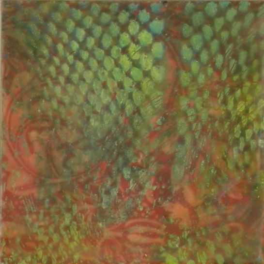 "Elizabeth M. Willey - SOLD - ""Tapestry Series: Netting I"", Microcrystalline Encaustic Mixed Media on Panel, 4 x 4 x .75 inches (4.5 x 4.5 x 1.25 inches framed), 2010 (Private collection of Nancy Newman Rice)"