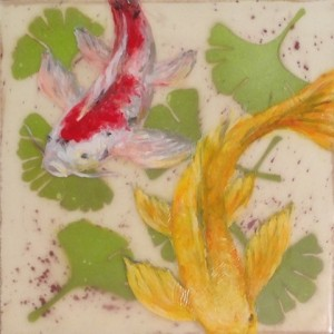 Folktale Series-  Ginkgo Koi, 2015, Elizabeth M. Willey, Mixed media encaustic on Clayboard panel, 6 x 6 x .75 inches (Private collection of Erica Popp and John Q. Do)