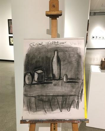 Carol Fichtelman - Chiaroscuro charcoal drawing on newsprint
