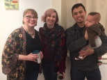 Elizabeth M. Willey with artist and gallery owner Erica Popp, gallery owner John Do, and baby of the arts, Eddie Popp-Do