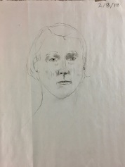 First class drawing before class instruction - SP18 Evening Portrait Drawing, taught by Elizabeth M. Willey at the St. Louis Artists' Guild