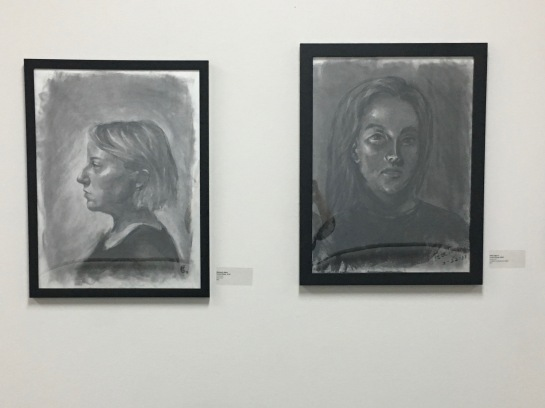 Display at Clearly Human  III, St. Louis Artists' Guild - SP18 Final Chiaroscuro Drawing Demo by Elizabeth M. Willey and Low Key Class Exercise by Peter Pagano