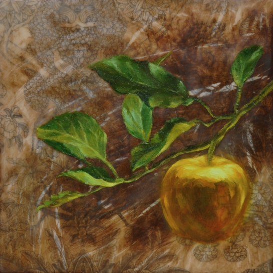 Elizabeth M. Willey - Idun's Apple, Encaustic Mixed Media on Panel, 8 x 8 x 1.5 in, 2015