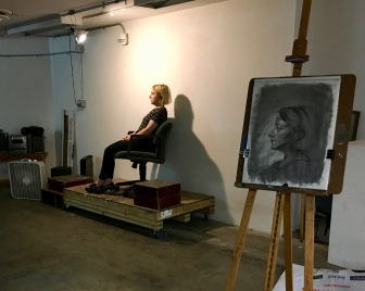 Model Madeline and in progress class demo by instructor Elizabeth M. Willey for final class of Portrait Drawing