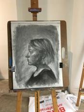 SP18 Portrait Drawing - Final Chiaroscuro Demo mid-progress - Elizabeth M. Willey