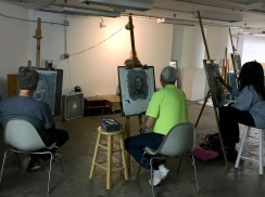 Students at work on final drawing - SP18 Portrait Drawing at St. Louis Artists' Guild